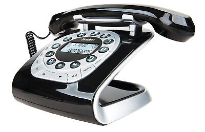 Uniden Modro 15 Retro Corded Phone- Lcd & Caller Id Display- Black