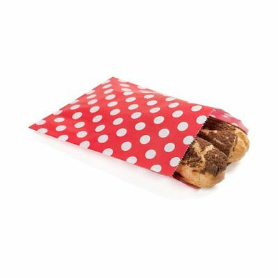 Disposable Paper Bags, Cookie Bags, Deli Bags, Bakery Bags - Red with White Dots