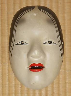 Very rare Antique  Real old Japanese pottery  Noh mask Woman character  #矢