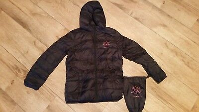 BLACK Child's Ski/Winter Jacket Hooded Down Filled Light Weight SIZE M(10-12)