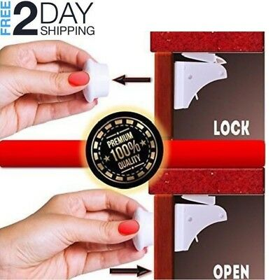 10 Pack Magnetic Cabinet Locks Safety Baby Set 8 Locks + 2 Keys Child Proof Kit