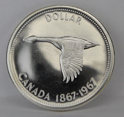 1967 BU Proof-Like Canada Silver Dollar Goose in Flight Coin Capsule Item #18