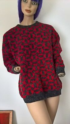 Vintage 80s Gals Club Ugly Abstract Glitzy Jumper Pullover Sweater size L