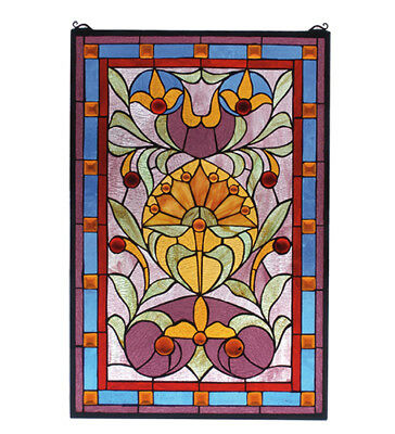 36 Amber Jewels and 199 pieces of Hand Cut and Handcrafted Stained Glass 20 X 30