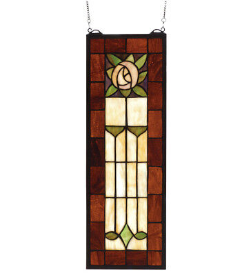 "Arts & Crafts Rose Stained Glass Window 8""W X 24""H"