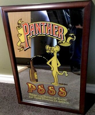 Panther Psss. 70s Bar Mirror. 500mm x 340mm. New Framing
