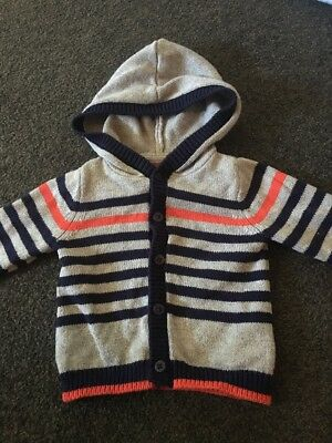 Sprout Cotton Knit Striped Grey Navy Hooded Cardigan Jacket Size 000