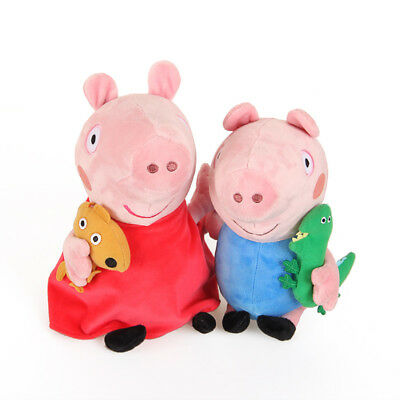 set of 2 Red Dress Peppa Pig and George Soft Plush Toy Doll 19cm Sydney stock