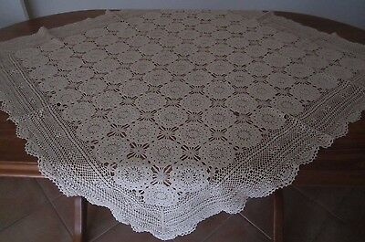 RETRO BEIGE COLOUR CROCHET LACE TABLECLOTH - APPROX 120 cm SQUARE - VGC