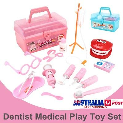 15Pcs Dentist Doctor Medical Set Toy Carry Box Kid Role Play Pretend Kit Case