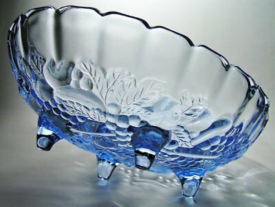 "Vintage INDIANA ""Garland"" CORNFLOWER BLUE GLASS Footed FRUIT Console BOWL #301"