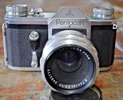 Pentacon F with 50mm Carl Zeiss Jena Tessar lens and leather case (Contax F)