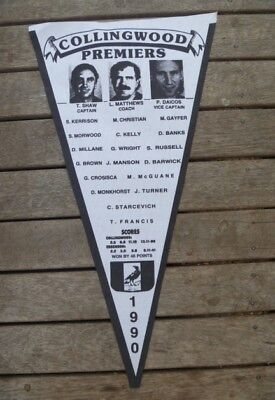 Collingwood MAGPIES 1990 PREMIERSHIP fabric pennant