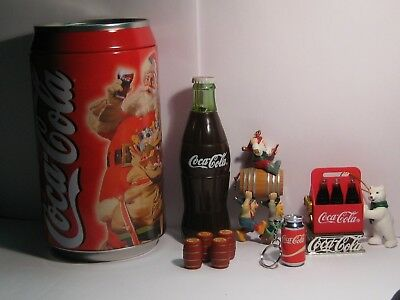 Coca-Cola ~ Mini Can Lighter ~ Bank ~ 2 Ornaments ~ 4 mini kegs ~ Toy bottle