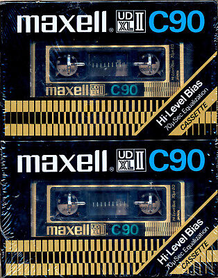Maxell UDXLII 70uS High Bias Blank Cassette Tapes PROMO 2 PACK  Made In Japan 90