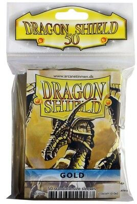 Dragon Shield - Gold 50 Protective Sleeves - Standard Cases E.G. for Magic