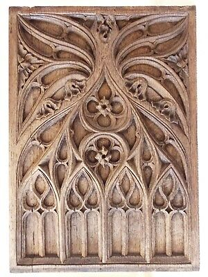 Gothic Church Tracery Carved Oak Panel