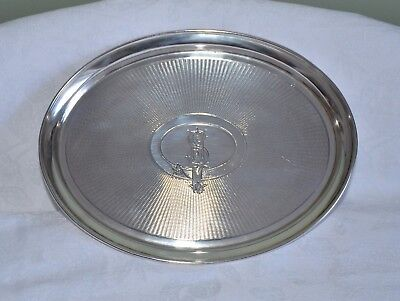 Antique German Silver Engine Turned Tray, C. Osterberg 800. 254gm