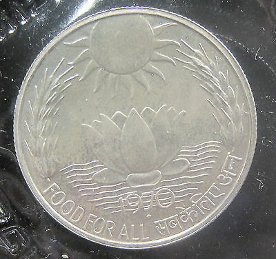 1970 India 10 Rupees Silver Proof  .3833 ASW KM186
