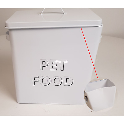 Damaged Cracked Dog Pet Cat Food Storage Container Box Bin Traditional Metal