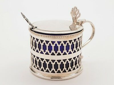 Vintage Silver Mustard Pot with Spoon
