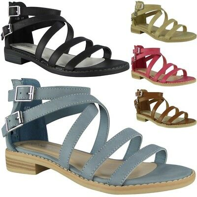 49c123919be7c Womens Strappy Gladiator Sandals Ladies Summer Buckle Flats Low Heel Shoes  Size