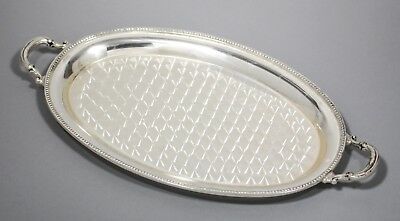 Vintage silver plate small oval 2-handle drinks serving tray swirl finish Ronson