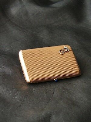 Antique Russian gold-diamonds cigarette case,workmaster initials MP 1899-1910