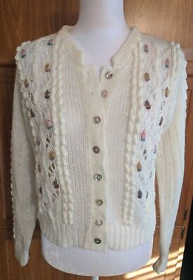 Womens COLLAGE Vintage Sweater~shell button down~large knit~ivory with flowers S
