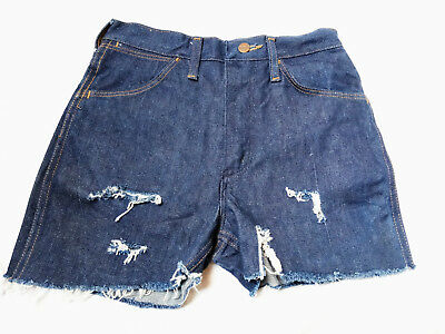 Blue Jeans Hotpants Used RISS Look High Waist Shorts Hipster Wrangler Jeans W28