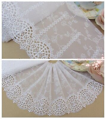 "7""*1Y Embroidered Tulle Lace Trim~White~Dazzling Smile~Wedding/Bridal/Costume~"