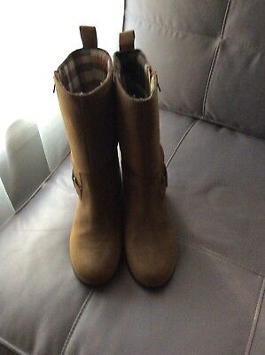 Dublin suede leather ladies boots.sz6.5 Generous midcalf length.Light brown.Wate