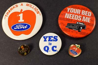 """Vintage FORD Pins """"Thanks a Million"""" #1 Apple Q.C. Duraliner - 5 Pin Button Lot"""