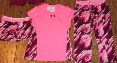 girls under armour lot youth large set outfit EUC