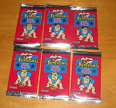 1993 CARDZ Flintstones NFL Football trading cards 6 sealed packs Hanna-Barbera