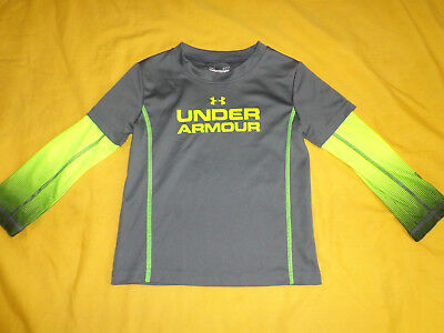 Under Armour Toddler Boy Top Size 2T Grey/lime Color