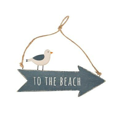 'To The Beach' Wooden Arrow Sign With Seagull