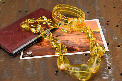 Baltic amber necklace and bracelet set yellow color Woman jewelry Genuine