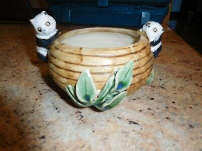 ANTIQUE CHINESE POTTERY BROWN/GREEN w/ PANDA &BAMBOO BUSHES FLOWER POT-1960's
