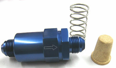 Fuel Filter, inline cleanable element  08 an Show Polished Blue anodized Alum