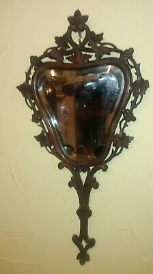 19t c Carved frame wall:hand mirror...Black Forest ?...simple and charming