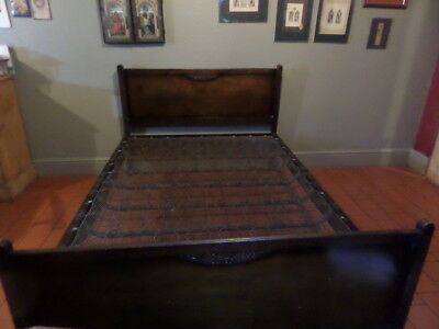 Antique Double Bed + Original Rare Sprung Base Cws Ltd Made In Birmingham 4Ft 6""