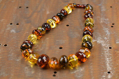 Multicolored Baltic Amber necklace 18,5 inch Woman jewelry Handmade pure amber