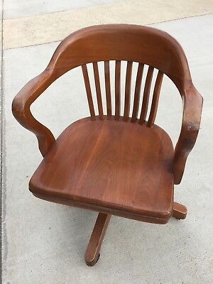Antique Banker Office Swivel Chair, Taylor Chair Company, Wood