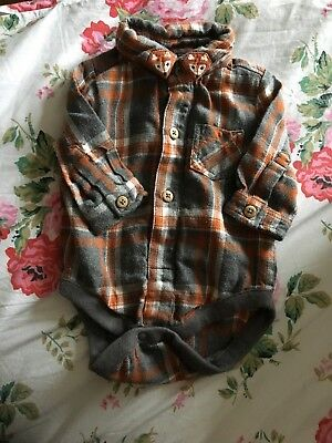 Next Up To One Month 0-3 Baby Boy Checkered Shirt Woodland Fox