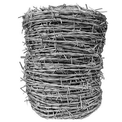 Barbed Wire 100m Galvanised Steel Stock Fence Livestock Security 1.6mm Thick