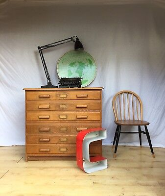 Small Oak Mid Century Wooden Vintage Antique Plan Chest Architects Artists