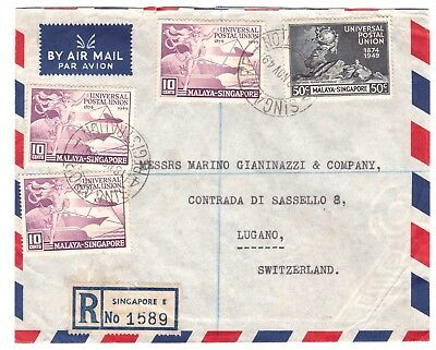Singapore UPU 1949 registred to Switzerland - arrivalcancel