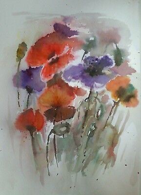 Original floral impressionist watercolour, ink 'Poppies'