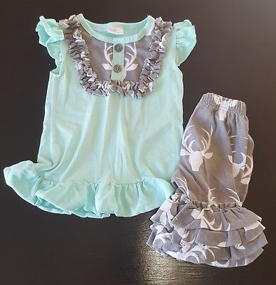 Toddler Girl Ruffle Top & Pant Mint Green & Gray Antler Outfit Size S/2T